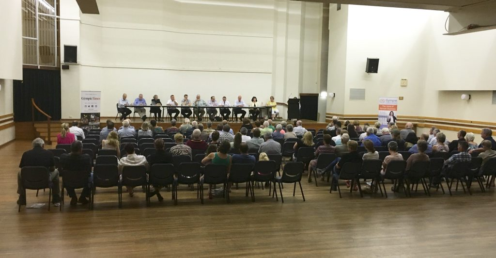 Voters attend a Gympie Regional Council election forum on Thursday night at the Gympie Civic Centre involving Division 2, 4 and 7 candidates.