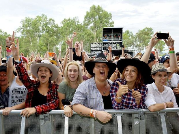 Chase Rice and his band perform for fans at CMC Rocks at Willowbank. Photo: Inga Williams / The Queensland Times