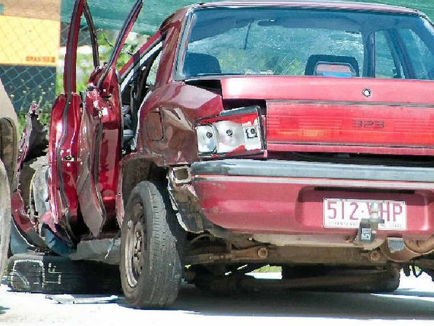 The stolen Mazda slammed into a truck on the Bruce Hwy near Miriam Vale.