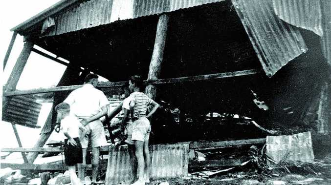 Tom Maloney's Black Flat boat shed was destroyed by a cyclone at Caloundra in 1954.