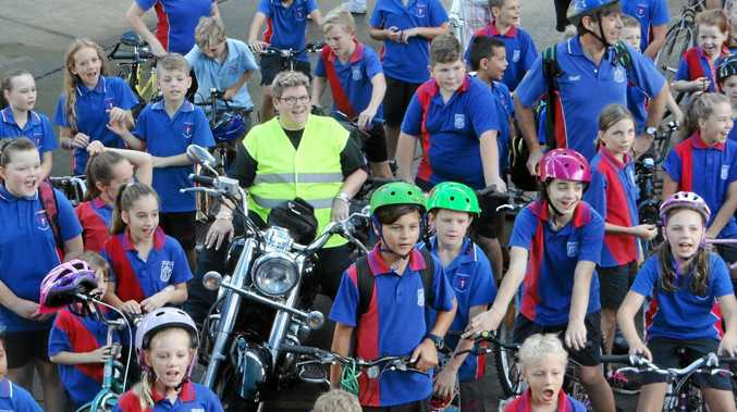 Murwillumbah East Primary School students during National Ride to School Day.