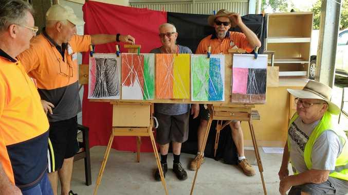 Glasshouse Community Menshed Art Group members Bob Carruthers, Mick O'Brien, Bob Kissell, Klaus Schiemann and Jim Harvey