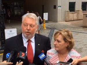 Morcombes speak outside court
