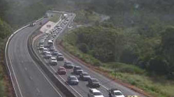 Traffic congestion on the Toowoomba Range caused by a single-vehicle crash.