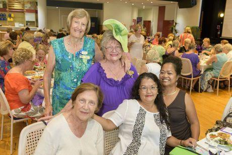 Back l-r) Barbara Took, Carol Sear (front) Marilyn Miller, Marian Garcia, Dory san Andreas enjoy a fun day at the International Women's Day event at Yamba Bowling Club.