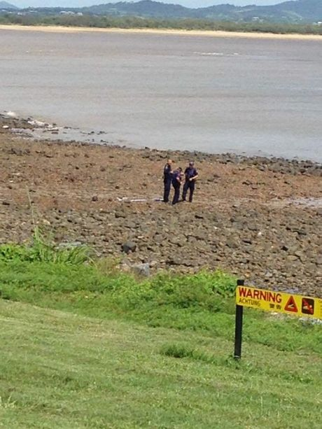 Police on the scene at Lamberts Beach after a crocodile was spotted. Photo Edelyn Jenkins