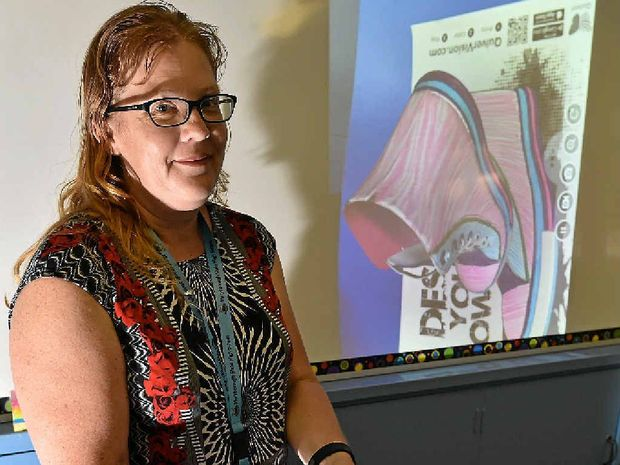 DIFFERENT APPROACH: Maryborough High teacher Kaye North with an example of the augmented reality program she uses in her class.