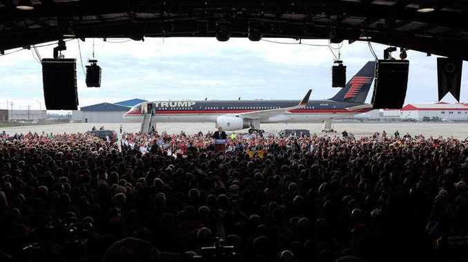 Republican presidential candidate, businessman Donald Trump, speaks at the Wright Brothers Aero Hangar during a rally, Saturday, March 12, 2016, in Vandalia, Ohio.