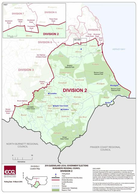 ELECTION 2016: Division 2 map Photo Electoral Commision Queensland.