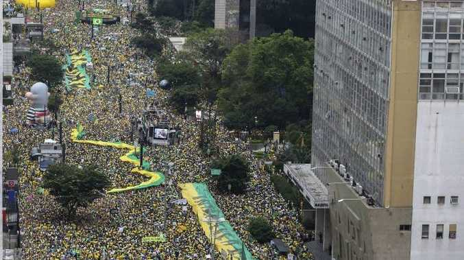 HUGE CROWD: Protesters gather on Paulista Ave in Sao Paulo.
