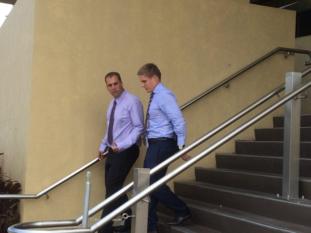 Former police officer Trent Christopher Birthisel, 31, (left) allegedly raped a 20-year-old woman. He faced court today.