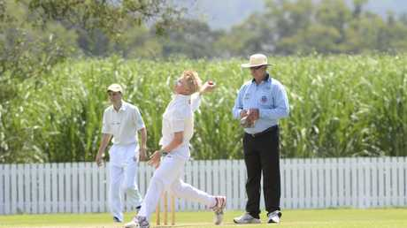Jake Causley bowling for Maclean United in the 2015/16 Lower Clarence Cricket Association preliminary final between Harwood and Maclean United at Harwood Cricket Ground on Saturday, 14th of March, 2016.Photo Bill North / Daily Examiner