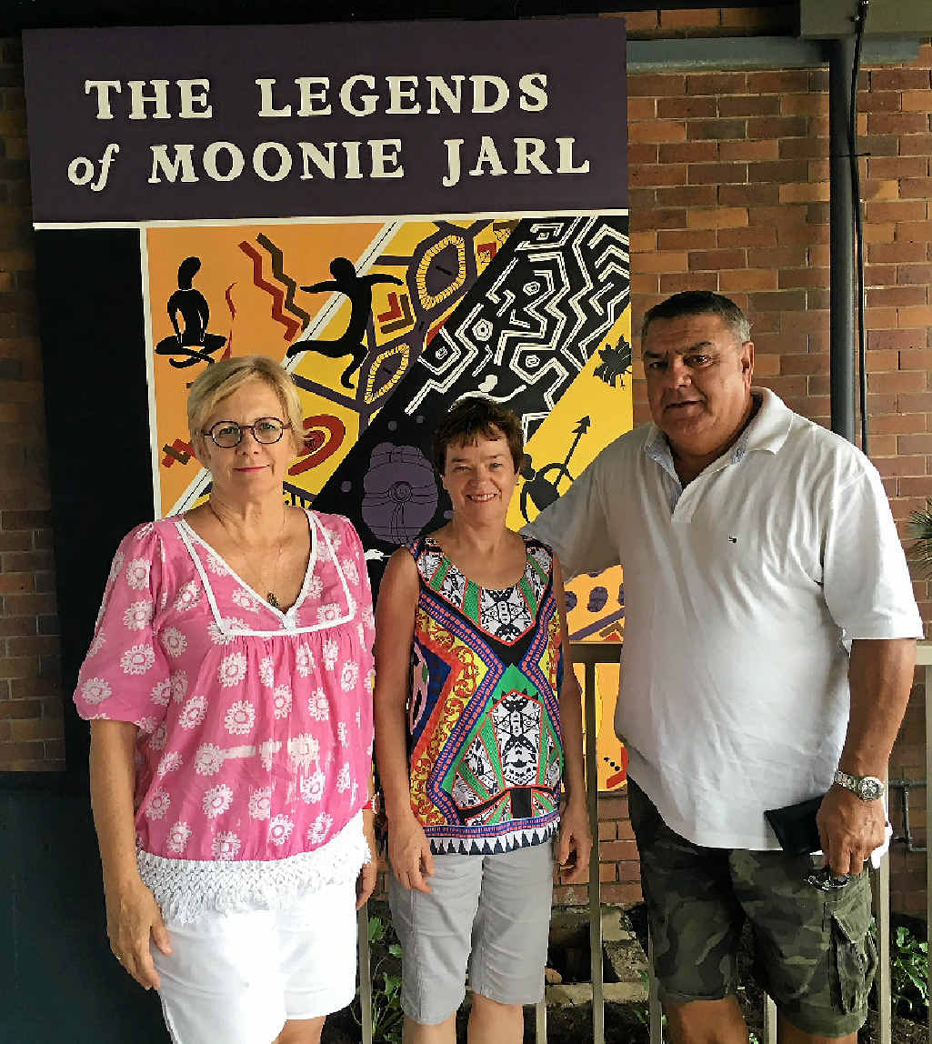 PROUD MOMENT: A mural honouring The Legends of Moonie Jarl was unveiled on Saturday. In attendance were members of the Maryborough Mural Project Elizabeth Lowrie and Deb Hannam and Olga Miller's son, Glen Miller.