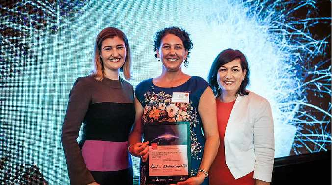 COMMUNITY RECOGNITION: Dr Linda Pfeiffer flanked by ministers Shannon Fentiman and Leeanne Enoch at the Queensland Women in STEM Research Prize awards.