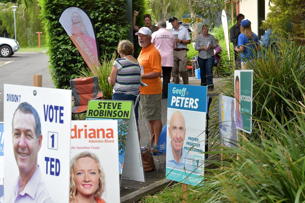 Pre-poll voting for Sunshine Coast local government elections at the Millwell Road Community Centre.
