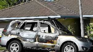BLAZE: This car was destroyed by a fire on J Hickey Av, Gladstone.