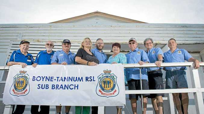 HOME SWEET HOME : RSL members Max Ricketts, Ben Fischer, Greg Hopton, Lorna McGrath, Josh Campbell, Maxine Brushe, Jim Staats, Mike Robbins, Jeff Tickner are proud to call the Tannum Sands Hall their new home after a trusteeship thanks to the Boyne Tannum Arts Business and Community Association. LEFT: Long-time club RSL members Ben Fischer, Jim Staats, Max Ricketts and Greg Hopton.