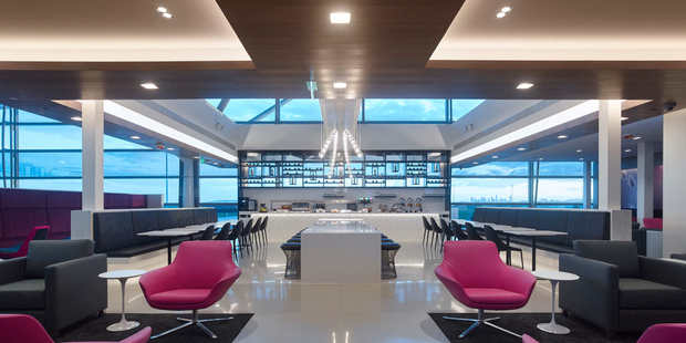 Air New Zealand's new Brisbane Lounge is located on the upper level of the airport next to gate 81.