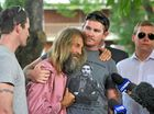 Sharon Edwards' sons Josh, Zac and Eli with their father John at a press conference at the Grafton Police Station.