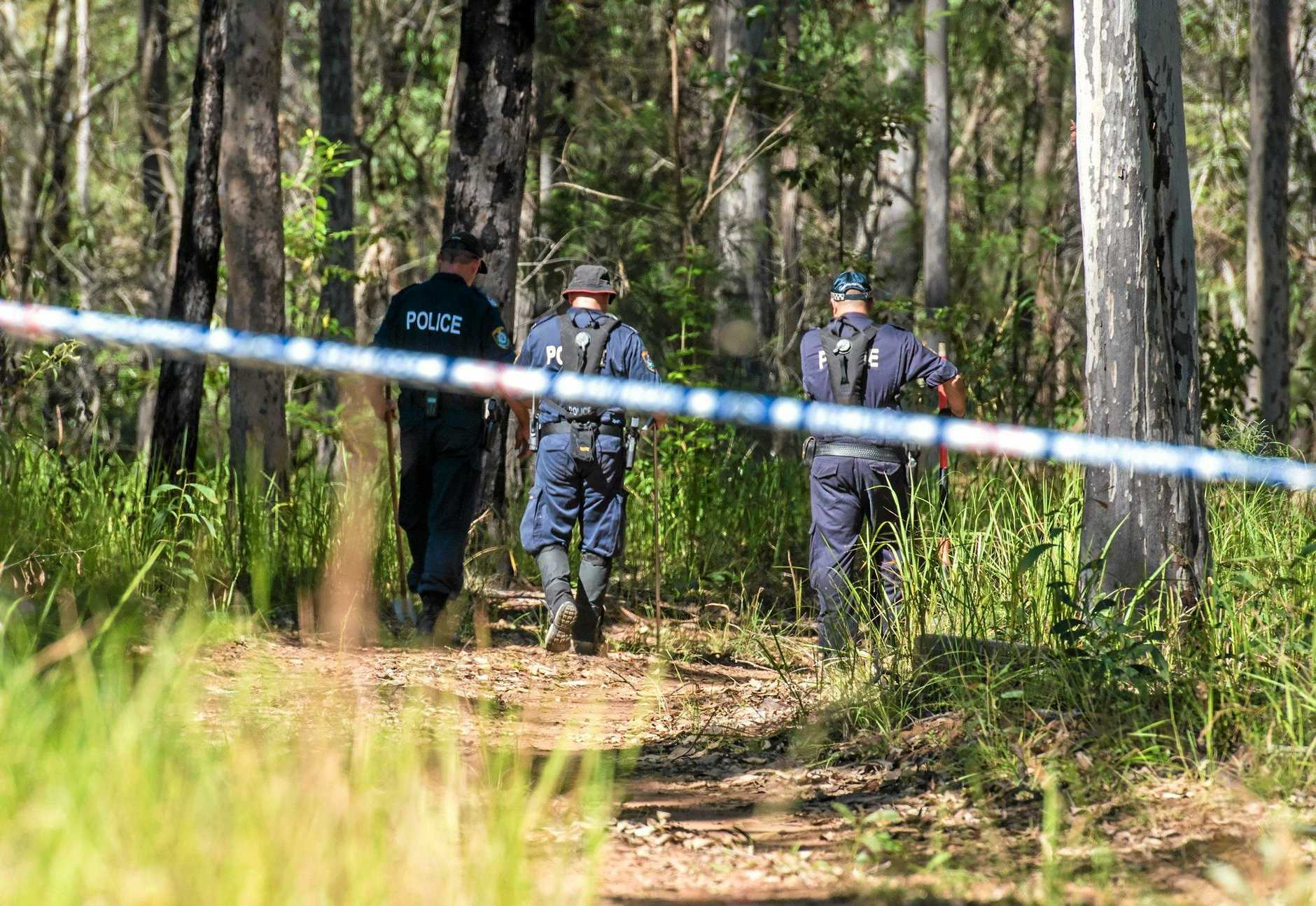 Police search a property on Tanglewood Road north of Lawrence in relation to the disappearance of Sharon Edwards. Photo Adam Hourigan / The Daily Examiner