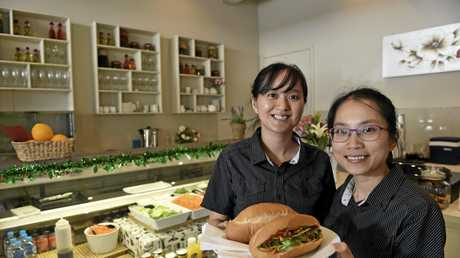 BANH MI: A new Vietnamese cafe has opened in Dugan Street. Serving up authentic Vietnamese food are  O Banh Mi owners/managers Hoa Chiem (left) and Tram Hoang  Photo Bev Lacey / The Chronicle