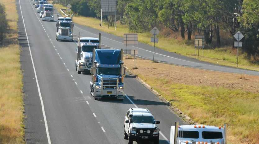 Matthew Battocchio leads the convoy down the Hume Highway.