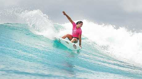 Tyler Wright of Australia (pictured) winning her Quarterfinal heat against Stephanie Gilmore, to advance into the Semifinals of the Roxy Pro Gold Coast.