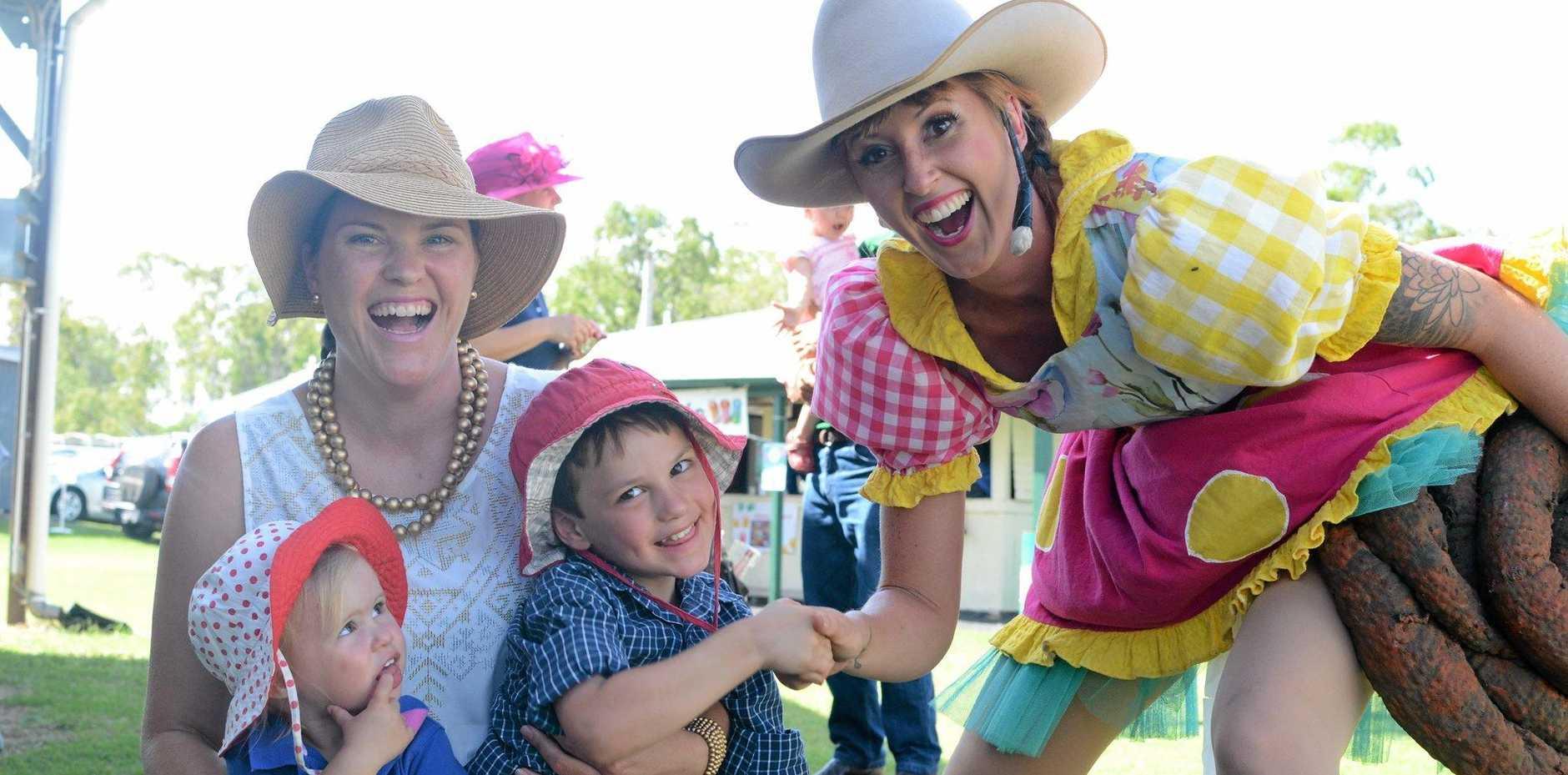 FAMILY FUN: Sophia, Caroline and Harry Jorgensen with CrackUp Sister Little B-Ute at the Jandowae Show last year.