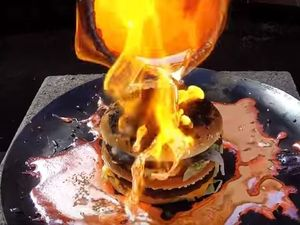 What happens when you pour molten copper on a Big Mac