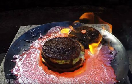 Turns out you can barbecue a burger with molten copper.