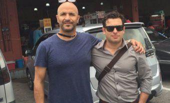 Four Corners cameraman Louie Eroglu (left) and reporter Linton Besser.
