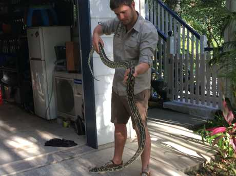 Sunshine Coast Snake Catchers 24/7's Max Jackson with the giant python.