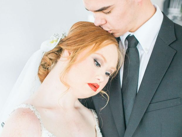 Down Syndrome model Madeline Stuart as a bride in a fairtytale wedding shoot