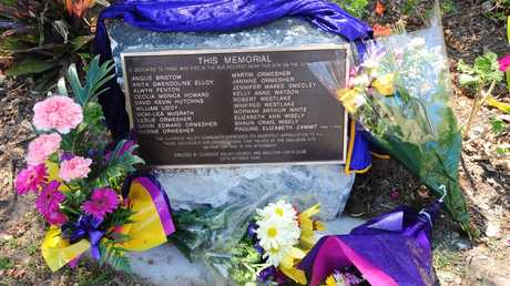 A memorial plaque unveiled at the 20th anniversary of the Cowper bus crash.