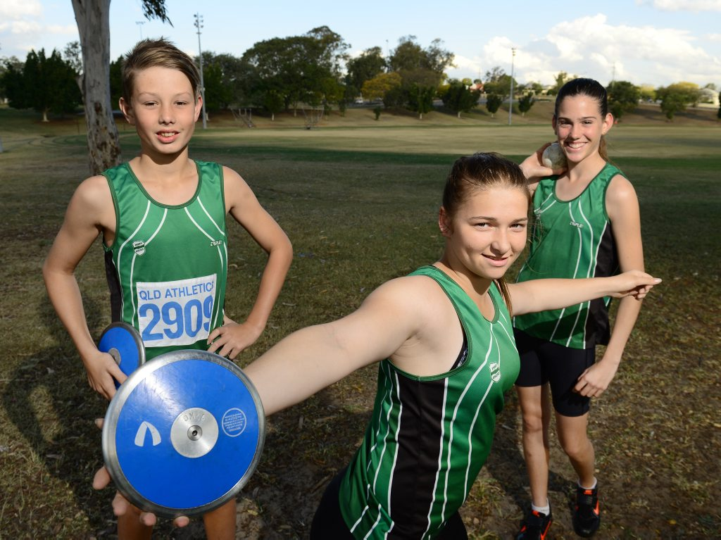 Ipswich and District Athletic Club thrower Rochelle Vidler preparing for last year's Winter Carnival.