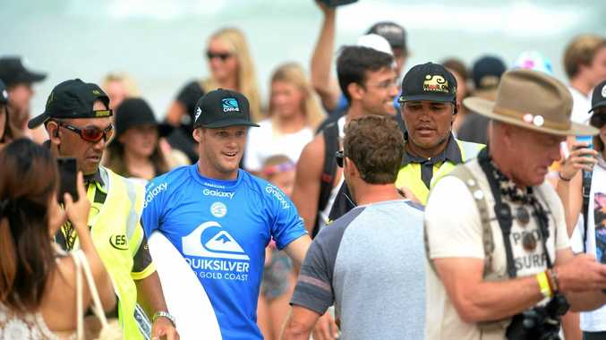 Fans swarmed around Lennox Head surfer Stuart Kennedy after he defeated John John Florence in the Quiksilver Pro quarter-finals on Wednesday, securing a place in the semi-finals.