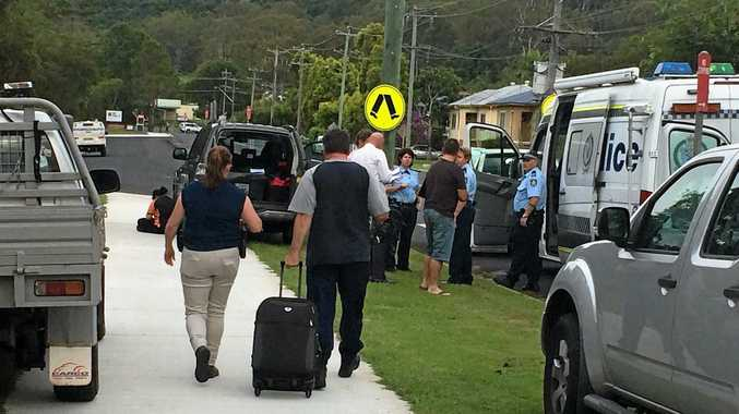 The scene of a developing situation outside Lismore High School involving police and paramedics. Photo: Cathy Adams