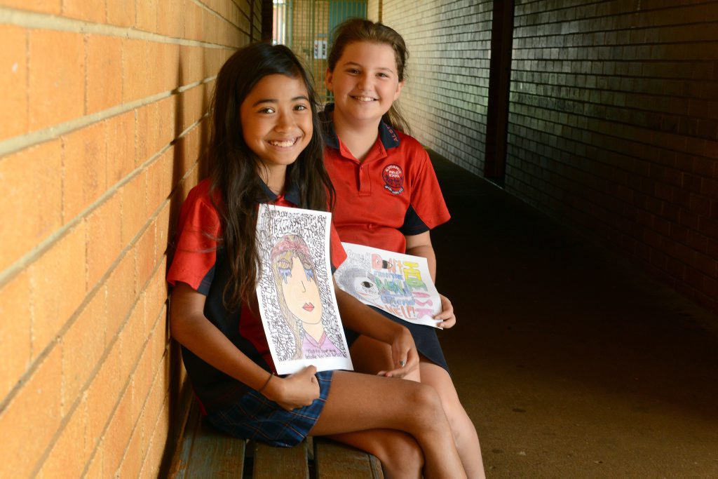Eleven year olds Maddy Kelly and Tia Dawes from Alstonville Public School won awards recently for posters they entered in Interrelate's Say No to Bullying competition.