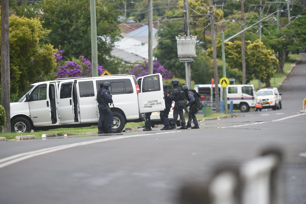 Police and protection support unit at the scene of a man with a firearm on Dalley Street in Lismore. Photo Marc Stapelberg / The Northern Star