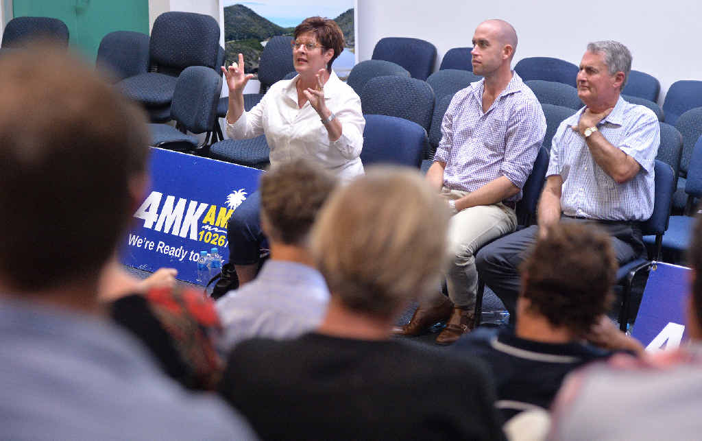 PASSIONATE: Mayoral candidates Deirdre Comerford, Mitch Rays and Greg Williamson at the Daily Mercury election forum at CQUniversity, which became heated at times, when questions were raised about the city centre library and transparency.