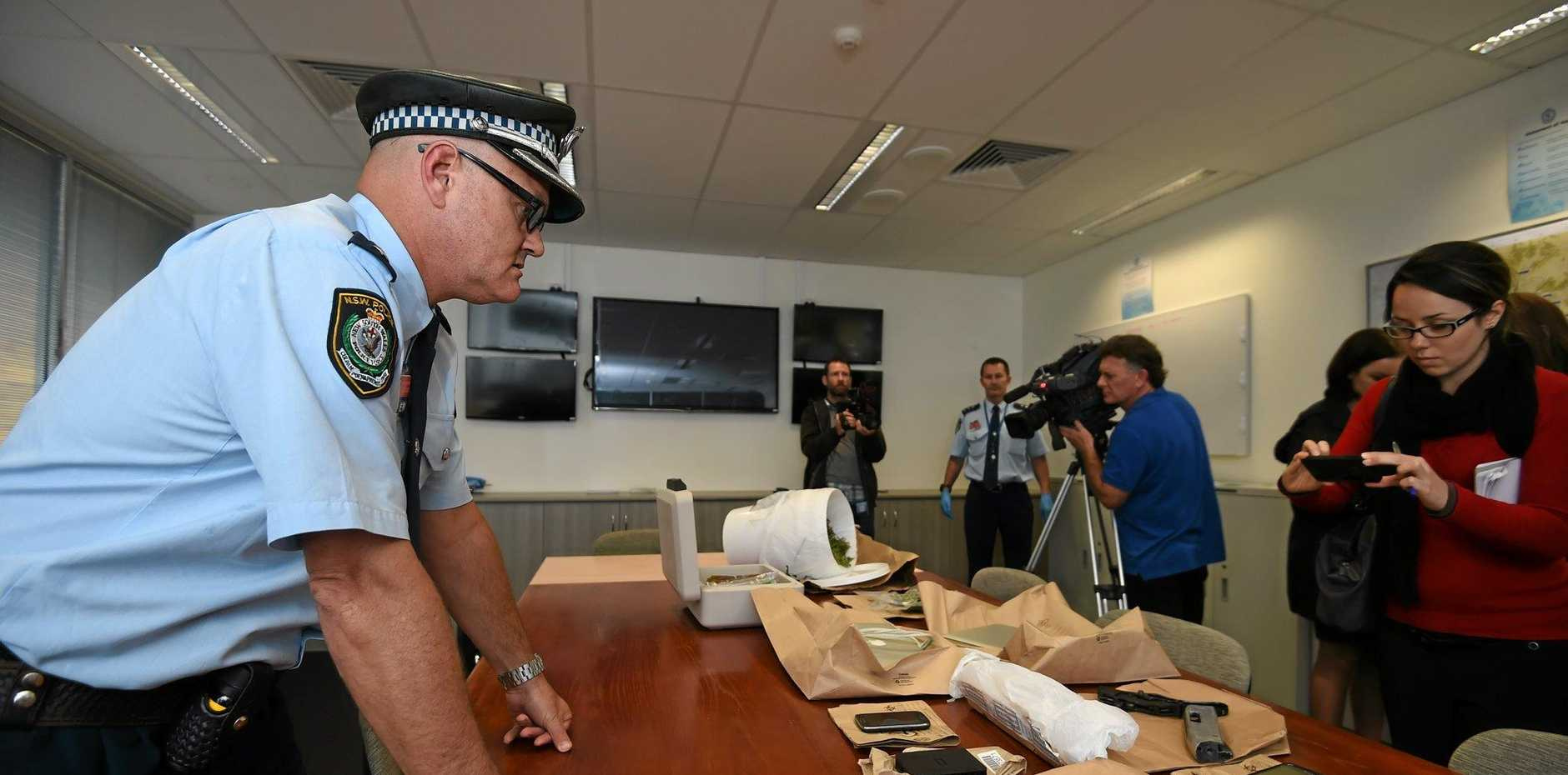 A huge drug haul from police operations in the Lismore area recovered drugs, weapons and technology. Photo Marc Stapelberg / The Northern Star