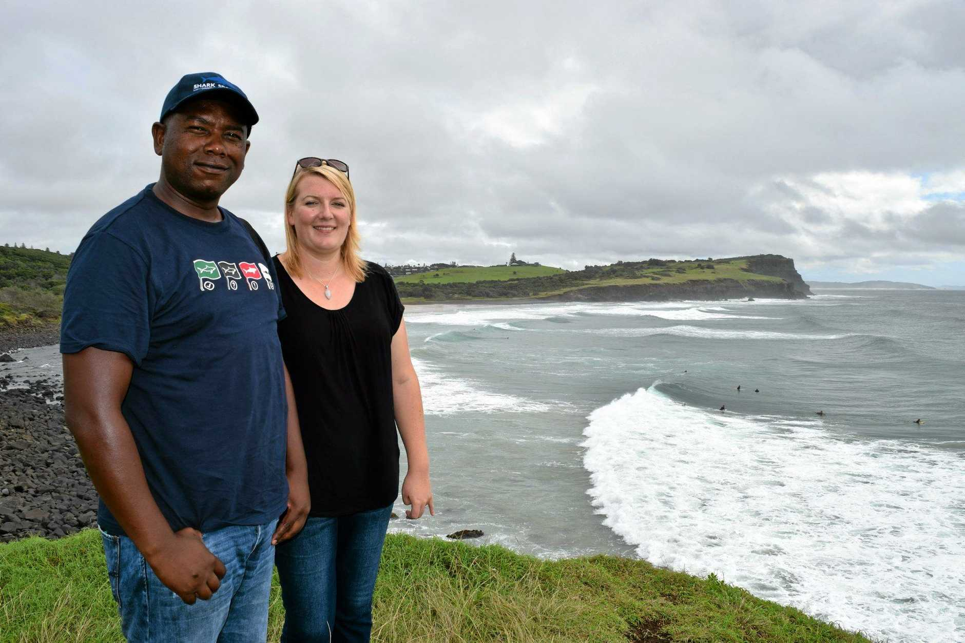 South African shark spotters (pictured from left) field manager Monwabisi Sikweyiya and project manager Sarah Waries at Boulder Beach. The pair were surveying locations from Byron Bay to Evans Head for their suitability for shark spotting.