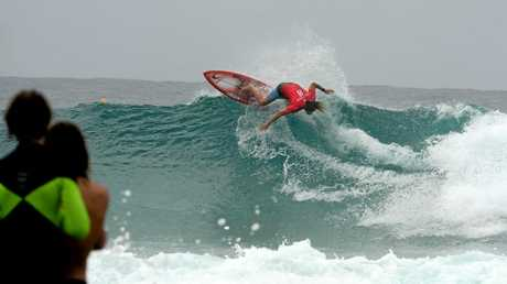 Byron Bay surfer Matt Wilkinson won the Quiksilver Pro against Kolohe Andino (USA, left) at Snapper Rocks on Wednesday afternoon, March 16, 2016. Tyler Wright (right), from Lennox Head, took out the Roxy Pro.