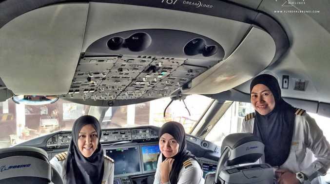 The all-female flight deck crew Royal Brunei Airlines