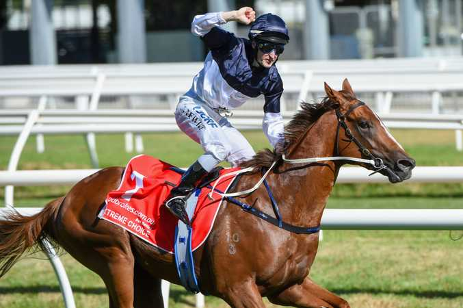 Craig Newitt rides Extreme Choice to a win in the Ladbrokes Blue Diamond Stakes at Caulfield Racecourse last month. Photo: Vince Caligiuri/Getty Images.
