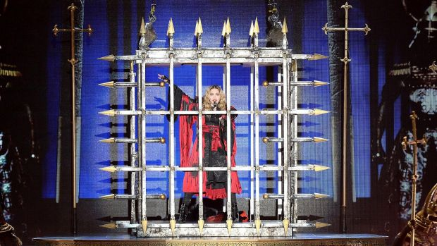 Madonna performs (eventually) at the Brisbane Entertainment Centre on Wednesday night. Photo: Bradley Kanaris