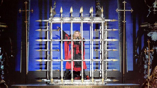 Madonna performs (eventually) at the Brisbane Entertainment Centre on Wednesday night. Photo: Bradley Kanaris