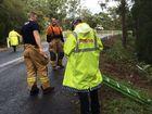 car crashes down Landsborough embankment