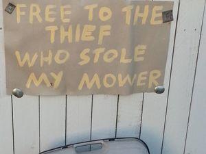 Woman's hilarious response to mower thief