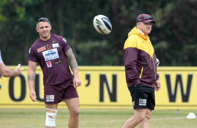 That was then ... Anthony Griffin in charge of the Broncos at training in 2014. Photo: AAP Image